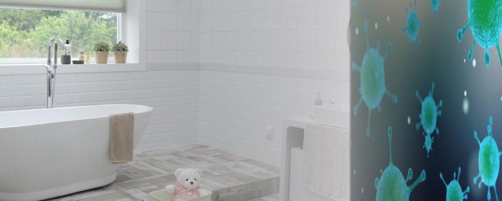 bagno con vasca in corian e lavandino