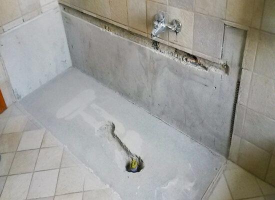 trasformazione da vasca in doccia creazione del foro per il nuovo scarico