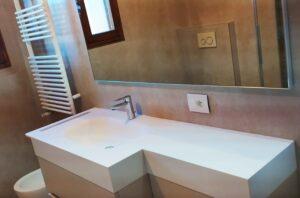 lavabo su misura corian con porta asciugamani